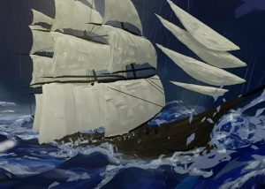 ship sailing in storm