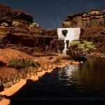 3D scene of night time fantasy Desert
